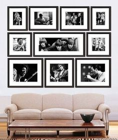 Love this photo display with simple black frames and white mattes. I enjoy how everything creates a square shape as a whole. My guess is there are two 5x7s, two 8x10s (or 8x12s), one 10×20, two 11x14s, two 10x10s, and one 12×12 or 14×14 in the bottom center. – Home Decor