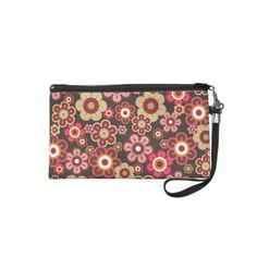 Candy Pink Daisies Flowers Cute Girly Wristlet Bag by fatfatin_design