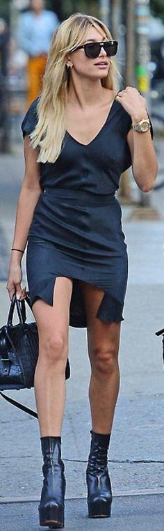 Who made Hailey Baldwin's black satin dress, gold watch, platform boots, and handbag?
