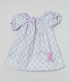 Look at this #zulilyfind! Gray & Lavendar Quatrafoil Dress - Infant, Toddler & Girls by Enchanted Everyday #zulilyfinds