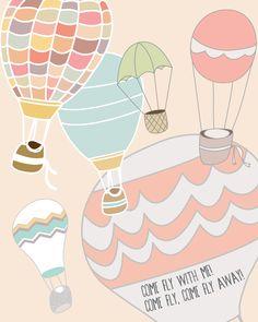 Free printable! Poster - Hot air balloons