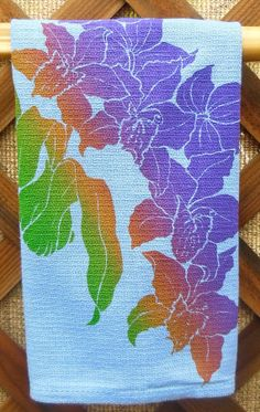 Hawaiian Orchid in Blue by HibiscusTextiles on Etsy, $10.00