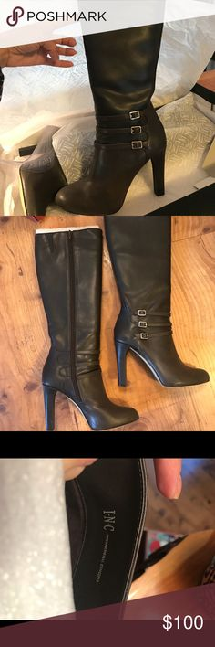 "Women's Leather INC Knee-high boots in Cocoa Gorgeous pair of women's INC knee-high boots in size 7M! These were a gift from Macy's and worn once. They do not fit my tom boy lifestyle. The calf is normal width, and the heel is 4"" high. INC International Concepts Shoes"
