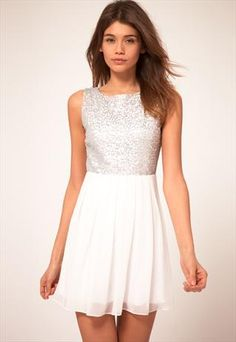 Babydoll Dress With Sequin Bodice