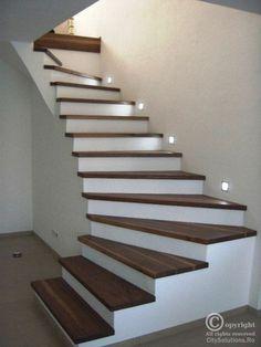 Home Stairs Design, Railing Design, Interior Stairs, Home Room Design, Home Interior Design, Staircase Lighting Ideas, Stairway Lighting, House Lighting, Lights On Stairs