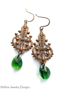 Dark green mini crystals and copper dangle earrings. Celtic, Irish jewelry. McKee Jewelry Designs