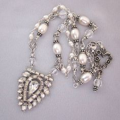 Repurposed Art Deco Rhinestone and Pearl Sterling Silver Necklace Pearl - One of a Kind Designs by JryenDesigns.etsy.com