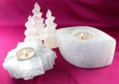SALE, Selenite Home Decoration - 2 Selenite Candle Holders - Crystal Healing, Crystal Grids, Reiki, Crystal Cleansing, Feng Shui