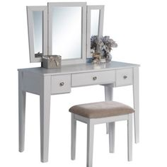 Poundex Bobkona Adar Vanity Set with Mirror