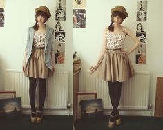 River Island Brown Skirt, Top, Bowler, Catworld Blazer