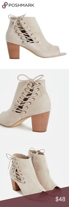 """JUST FAB - Willow - Taupe Corset Lace Up Bootie New, never worn out! Color: taupe, faux stacked block heeled booties with a trendy corset lace Up accent. Heel height: approx 2.5"""" ❌TRADES❌ JustFab Shoes Ankle Boots & Booties"""