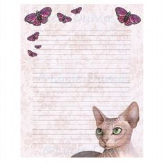 Digital Printable Journal Page Stationary 8x10 Cat 578 Sphynx Butterfly by artbyLucie