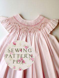 The Charming Bishop Dress 1 year - Sewing PDF Pattern - How to Make - Upbringing Dress One Size - No Side Seams - Easy Way - Etsy Smocking Plates, Smocking Patterns, Sewing Patterns, Smocking Tutorial, Smocking Baby, Smocked Dresses, Sewing For Kids, Baby Sewing, Punto Smok