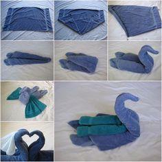 serviettes de bain cygnes