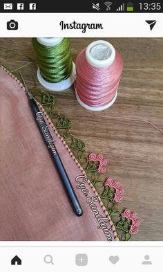 Crochet Lace Edging, Crochet Flower Patterns, Crochet Trim, Crochet Flowers, Fabric Flowers, Crochet Stitches, Embroidery Stitches, Knitting Patterns, Knit Crochet