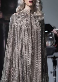 """Evening Gown & Cloak for Rey Paolo Sebastian, Spring 2019 Couture Collection "" Haute Couture Style, Couture Mode, Couture Fashion, Runway Fashion, Fashion Week, Look Fashion, High Fashion, Fashion Design, Fashion Details"