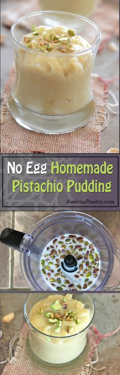 Forget about instant pistachio pudding mix, try this easy Homemade Pistachio Pudding recipe. Rich, creamy and the flavor is so fresh, you'll never look back. Best Dessert Recipes, Vegan Desserts, Easy Desserts, Sweet Recipes, Delicious Desserts, Yummy Food, Custard Pudding, Pistachio Pudding, Vegan Pudding