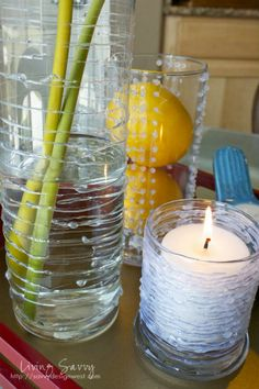Easy project with glue and a dollar store vase--5 minute project