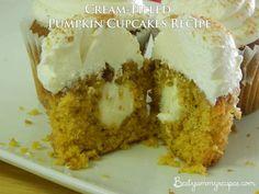 Cream-Filled Pumpkin Cupcakes Recipe