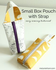 Learn how to make this easy small zipper pouch tutorial featuring a handle. These box bags are great for storage or gifts! Great easy sewing projects and a free sewing patter too! Beginner Sewing Patterns, Sewing Projects For Beginners, Sewing Patterns Bags, Small Sewing Projects, Diy Projects, Sewing Hacks, Sewing Tutorials, Sewing Tips, Tutorial Sewing