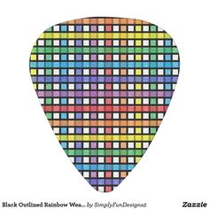 Black Outlined Rainbow Weave Guitar Pick
