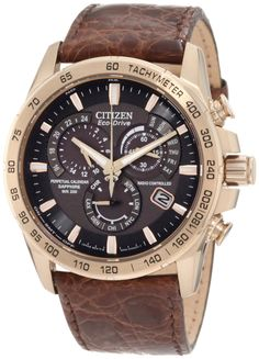 Citizen Men's AT4003-04E Perpetual Chrono A-T Limited Edition Watch | Price: $675.00 | Sale: $506.25 | Atomic timekeeping, the most accurate watch in the world * Stainless steel rose gold tone case with genuine crocodile strap, 42mm case * Non reflective sapphire glass * 1 second chronograph measures up to 60 minutes, perpetual calendar, radio controlled in 5 time zones, alarm, 12/24 hour time, power reserve indicator * 200 meters water resistant | Click on the image for details and…