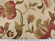 Drapery Upholstery Fabric Linen Floral Tan/Brown/Red/Burgundy/Green on Beige