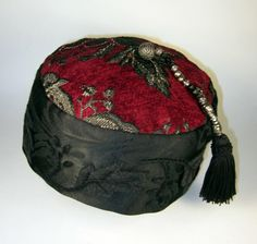 Men's NeoVictorian smoking hat in brocades and tone-on-tone applique. By custom order.