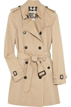 The Classic Burberry coat in Honey for $1,850.00:  The Westminster is a classic fit trench coat with a lightly tapered waist and raglan sleeves. The coat is made in England from cotton gabardine, invented by Thomas Burberry in 1879. The tightly woven cloth is protective against wind and rain, while being lightweight and breathable.