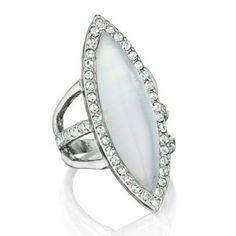 Meridian Navette Ring New in original packaging.  Chloe and Isabel Jewelry.  Size 6.  Rhodium plated.  Won't tarnish.   Nickel free.   White mother of pearl inlay  and clear crystal pav?. Comfortable to wear.  No trades. Chloe + Isabel Jewelry Rings