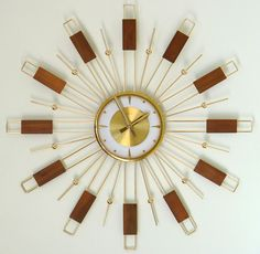 Welby Vintage Wall Clock Starburst Atomic Mid Century Modern Sunburst | eBay