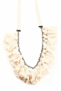 Tulle Necklace - DIY with round beads, tulle and repurposed chain instead.
