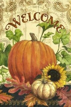 """Fall Decor """"Welcome"""" Autumn Painting, Autumn Art, Tole Painting, Autumn Decorating, Fall Decor, Stencil, Autumn Scenes, Happy Fall Y'all, I'm Happy"""