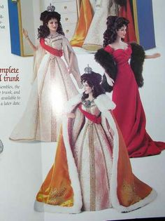 Faberge's Czarina Alexandra's Cornation Gown, Cornation Robe, and Portrait Gown (for the vinyl Alexandra doll). - The Franklin Mint