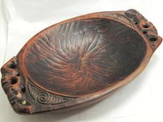 Maori Carved Wooden Bowl New Zealand