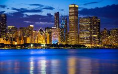 Download wallpapers Chicago, Lake Michigan, skyscrapers, modern buildings, night, city lights, cityscape, Illinois, USA