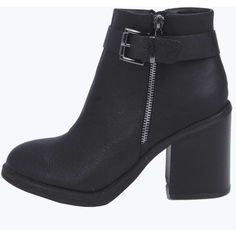 Boohoo Rachel Buckle Trim Block Heel Ankle Boot ($52) ❤ liked on Polyvore featuring shoes, boots, ankle booties, bootie boots, short boots, block heel boots, faux boots e high heel bootie