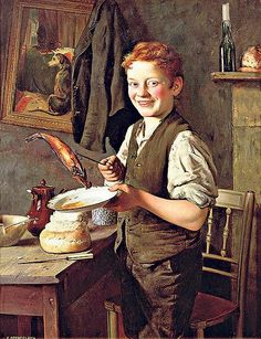 """""""Breakfast Time"""" --  by Charles Spencelayh (English, 1865-1958)"""