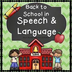 Back to School Speech Language Activities