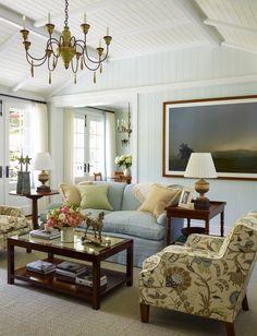 Aqua and beige living room -- Cullman & Kravis
