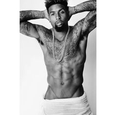 Odell Beckham Jr. Strips Down for Mario Testino Towel Series ❤ liked on Polyvore featuring odell