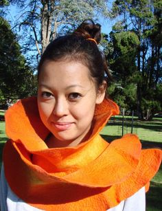 Orange ruffled felted scarf, hand dyed and 100% hand made in Australia! Eco friendly.