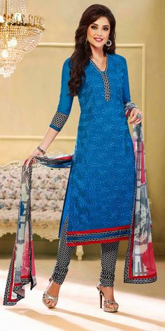 USD 25.46 Blue Chanderi Churidar Suit 44462