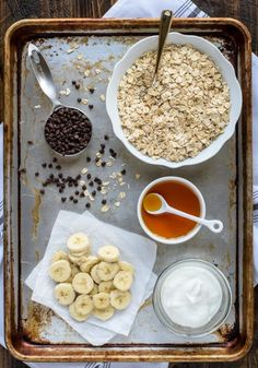 Ingredients needed to make a blender recipe for banana chocolate chip muffins