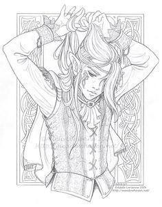 Elf-Fairy. Adult Coloring Page. Royalty - Luke lineart by Saimain.deviantart.com…