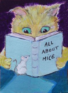 NFAC aceo  CAT READS about MICE  mouse watches Original Ursin mini…