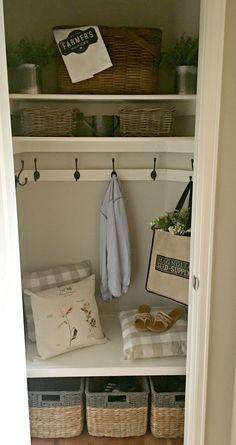 Family Mudroom for Summer - Raising Rustic Coat Closet Organization, Closet Storage, Home Organization, Organizing, Front Hall Closet, Hallway Closet, Closet Mudroom, Front Hallway, Garage Entry