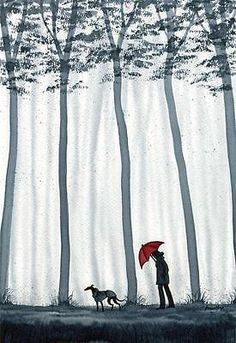 Rain Illustration, Dog Tree, Greyhound Art, Autumn Walks, Red Umbrella, Lurcher, Fairytale Art, Dog Paintings, Girl And Dog