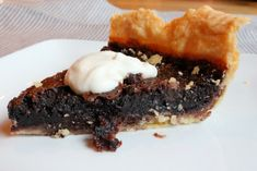 Minnie's Chocolate Pie - this is great. Tastes like an incredibly rich brownie or flourless chocolate cake, and even after baking it's really moist.