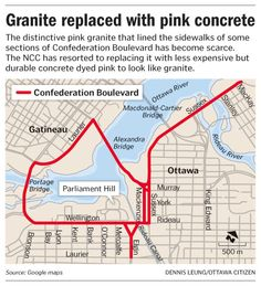Granite replaced with pink concrete